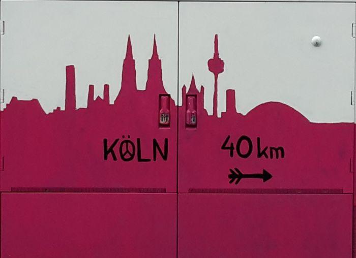 Schattenriss Köln, Hinweis Köln 40 kilometer